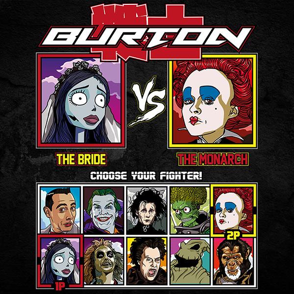 tim burton corpse bride queen of hearts fighter tee
