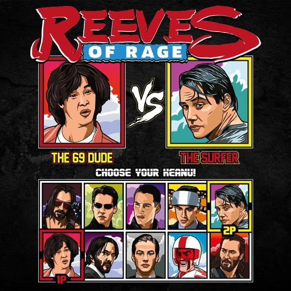 Keanu Reeves of Rage - Bill & Ted vs Point Break T-Shirt
