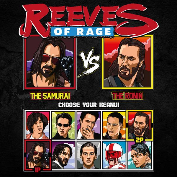 Keanu Reeves of Rage - Cyberpunk vs 47 Ronin T-Shirt