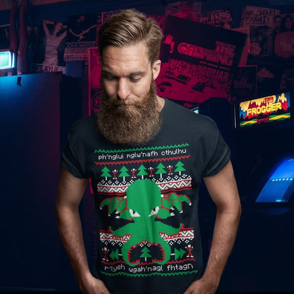 HP Lovecraft Cthulhu Ugly Christmas Sweater Tee