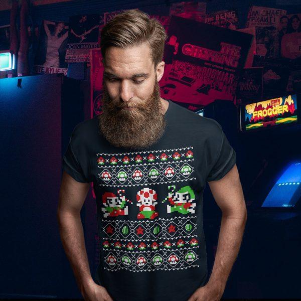 Super Christmas Bros Mario Ugly Sweater Tee
