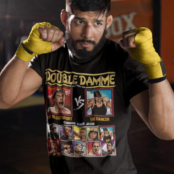 double damme jcvd world tour - bloodsport vs kickboxer t-shirt