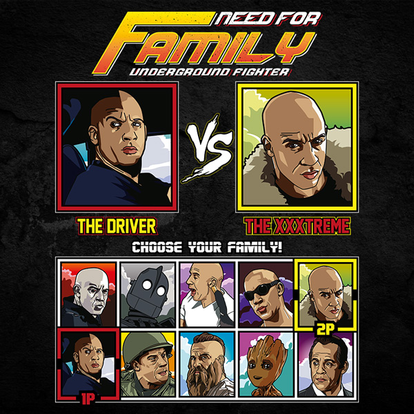 Vin Diesel Family Fighter - Dom Fast & Furious vs Xander Cage T-Shirt